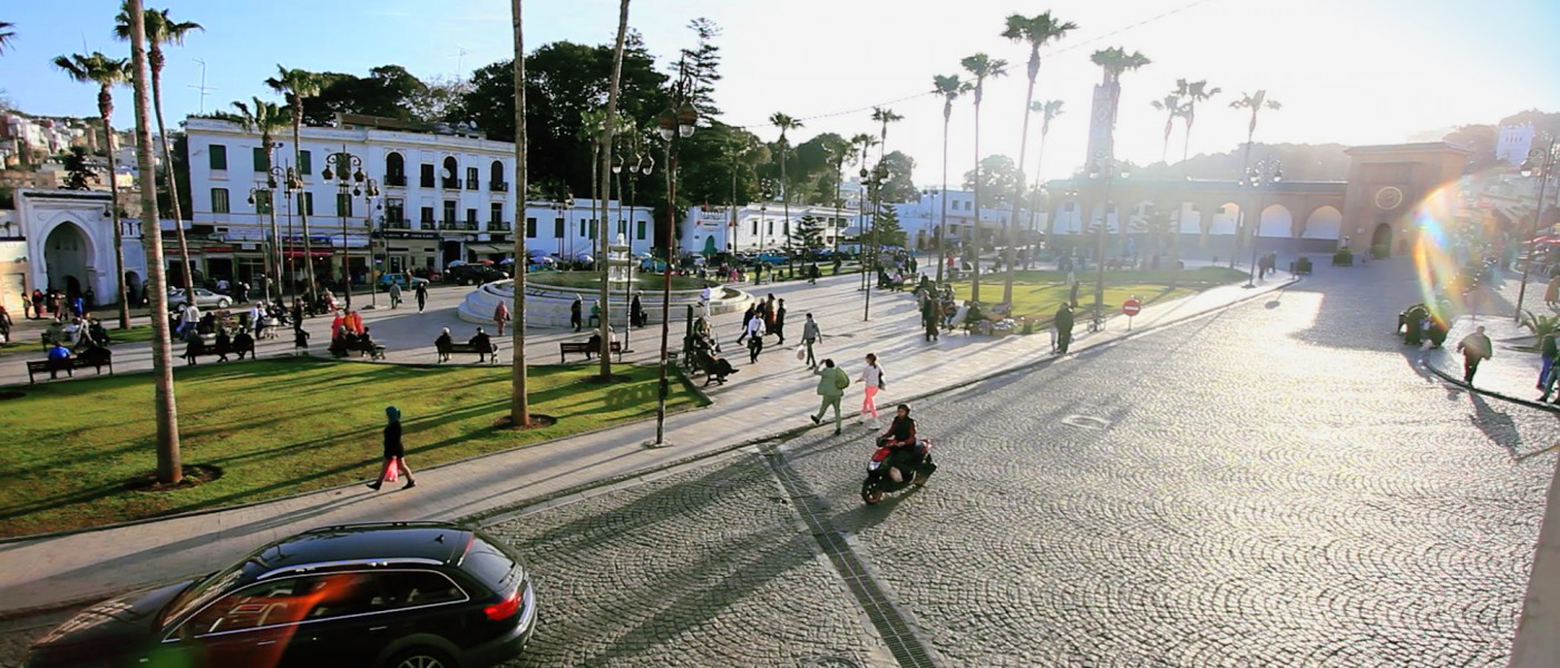 A square and green in the heart of Tangier.