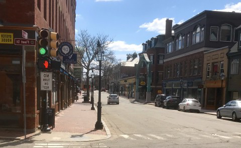 An empty street illustrates the effects that COVID-19 has had on local businesses and communities across the United States.